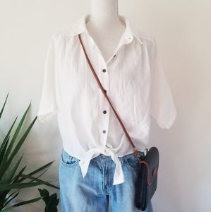 Good Luck Gem Easy Cropped White Tie Front Shirt L